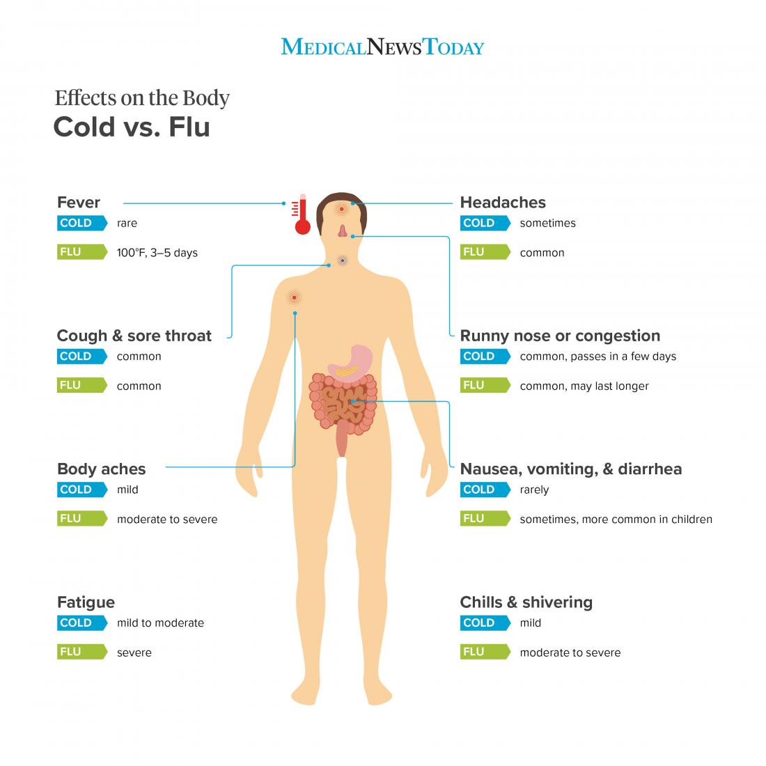Flu and cold effects on the body