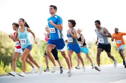 A group of runners in cross country exercise