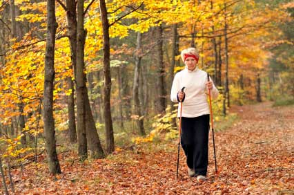 A lady nordic walking in the woods