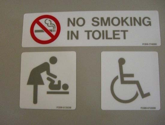 No smoking in toilets - sign
