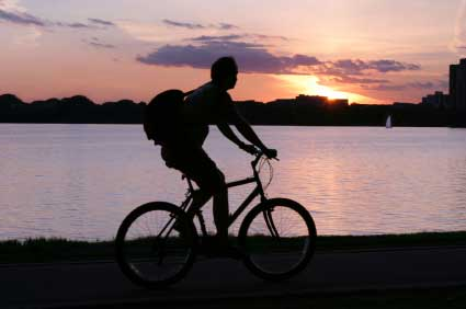 Cycling whilst the sun sets