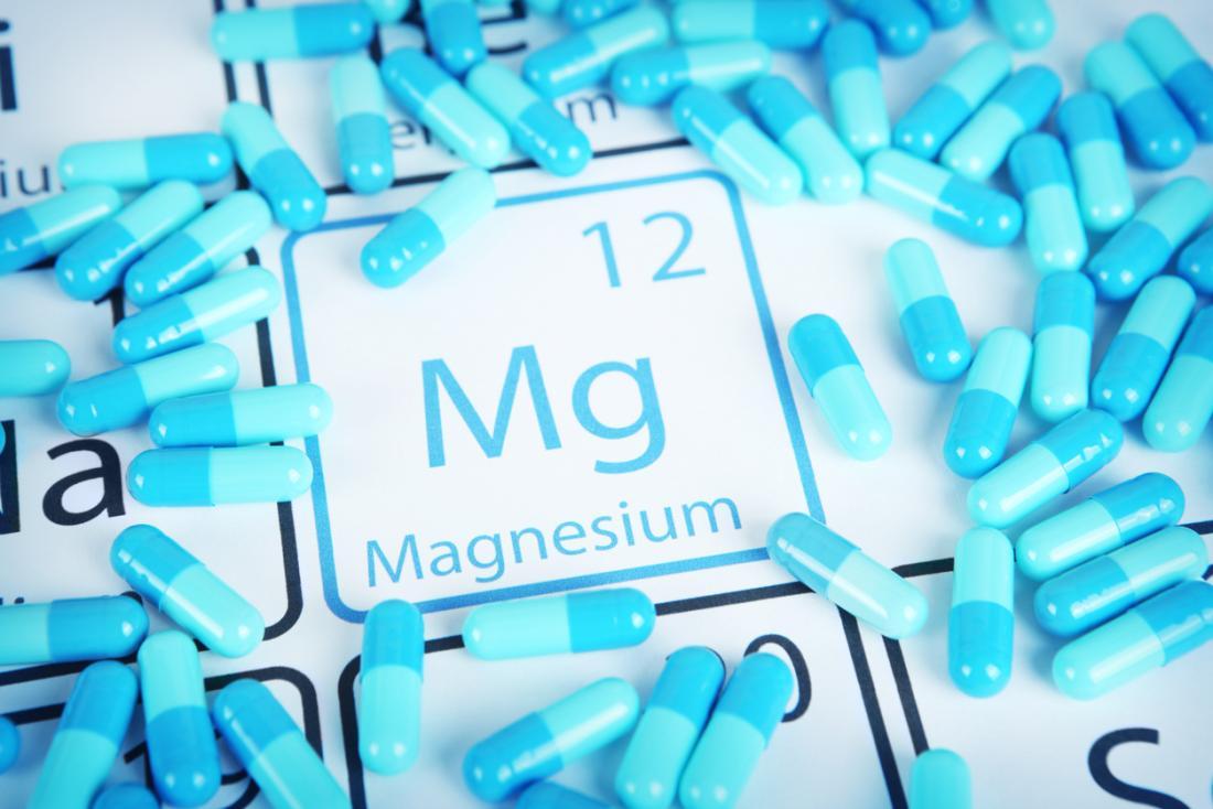 Magnesium symbol and pills