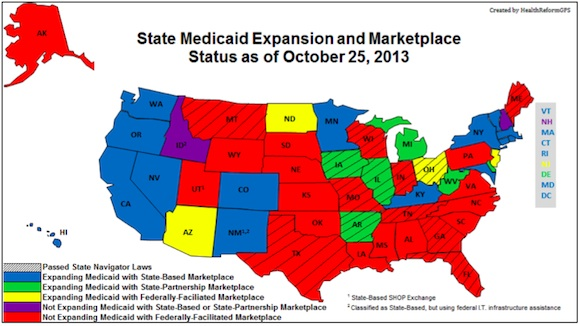Map: State Medicade expansion and marketplace status as of October 25,2013