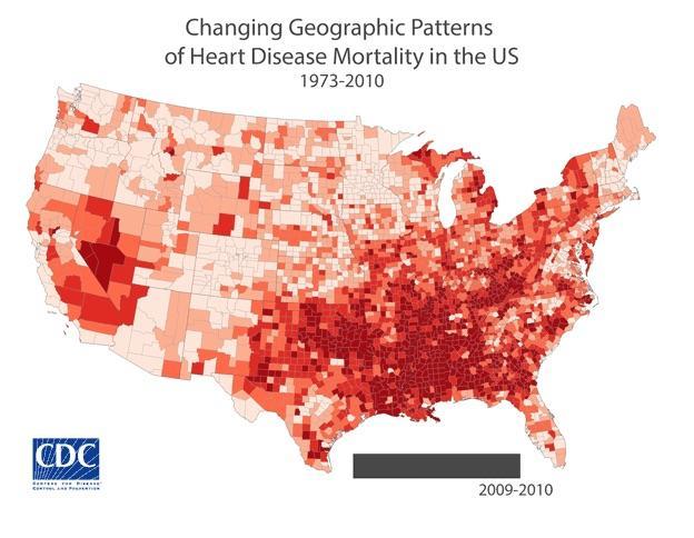 [Map of heart disease in America 2009-2010]