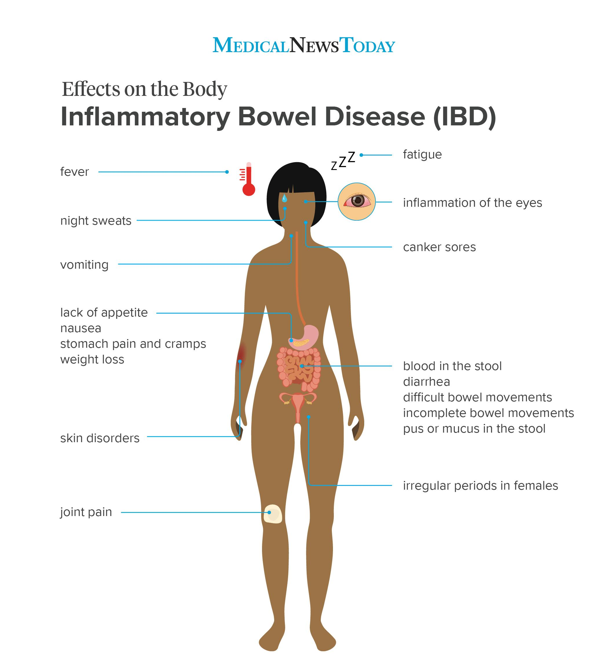 an infographics showing the effects on the body of IBD