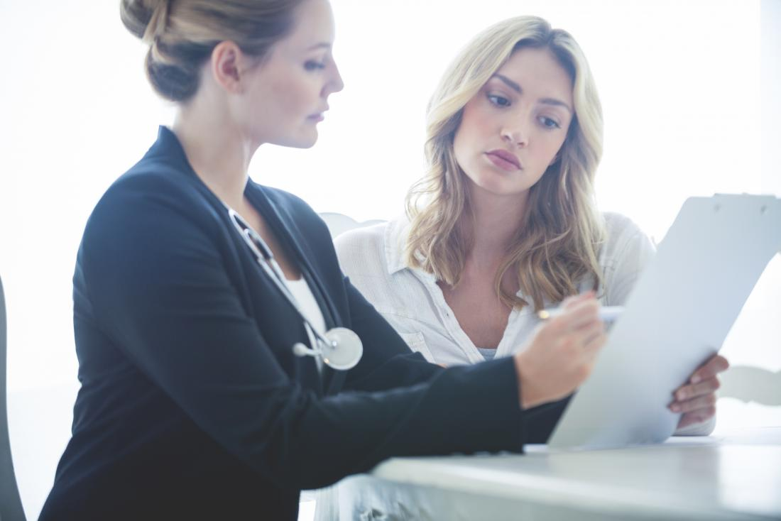 a doctor explains the results of a mammogram
