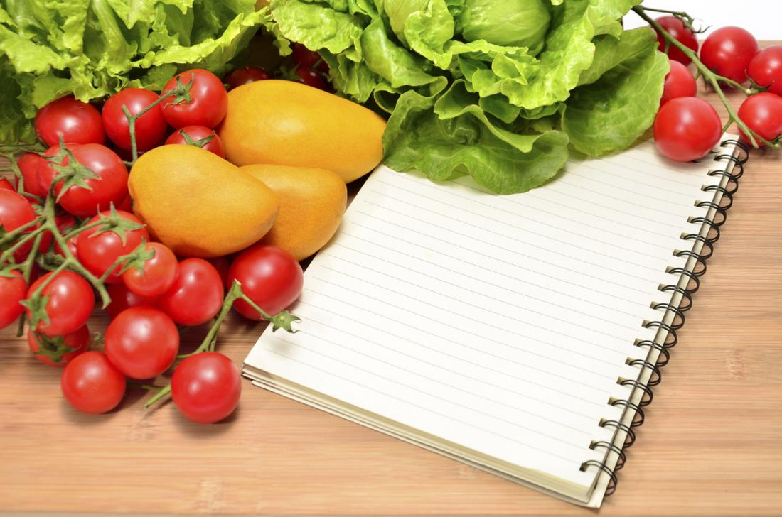 diet plan on a table with fruit and vegetables