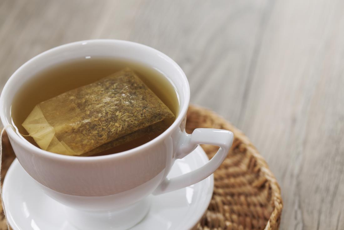 Teabag in a cup of herbal tea.