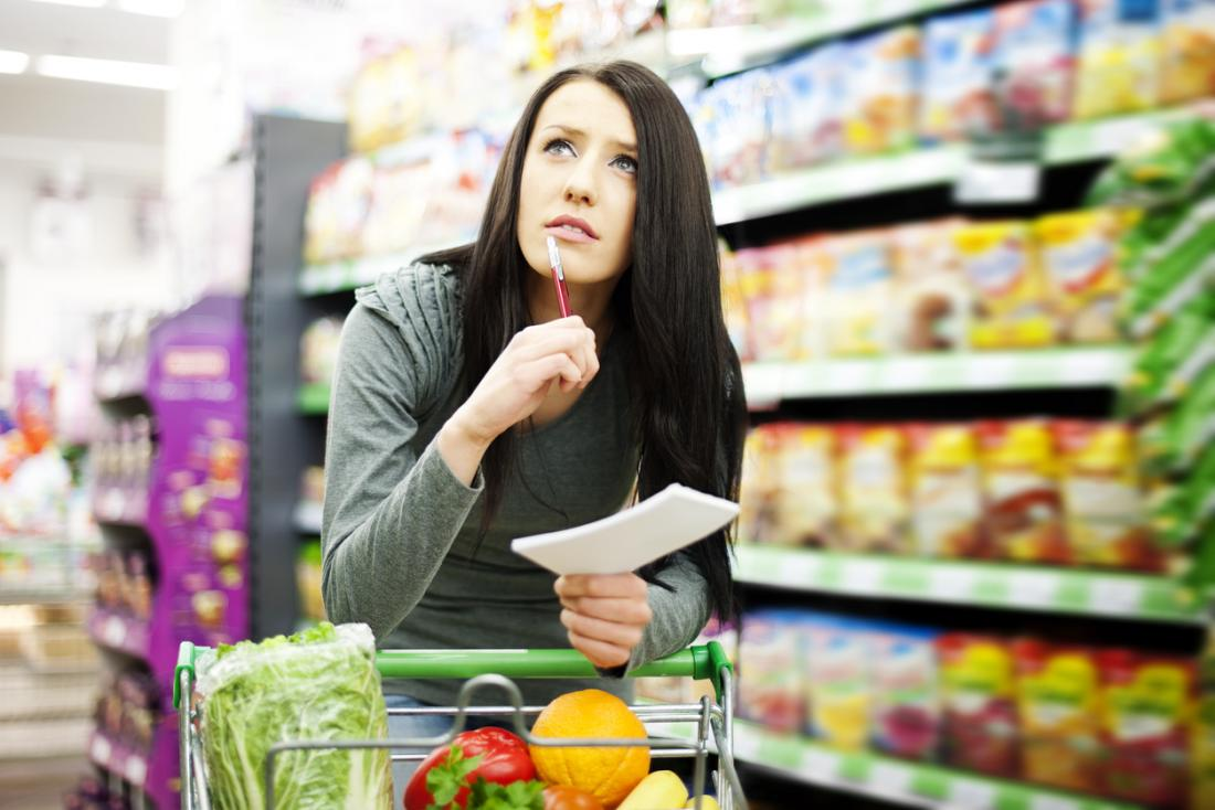 woman in the grocery store with a list