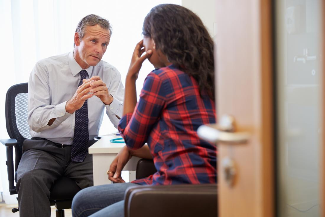 Psychiatrist doctor in counseling therapy session with depressed patient.