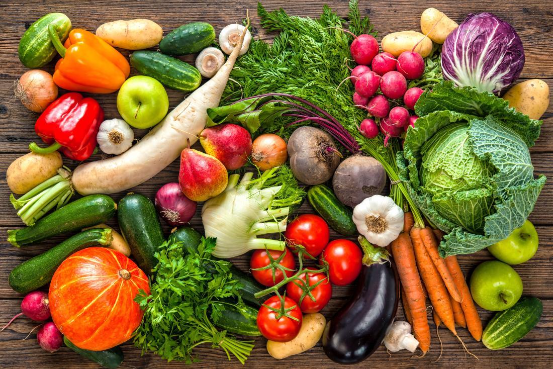 trái cây và rau quả nhiều màu sắc
