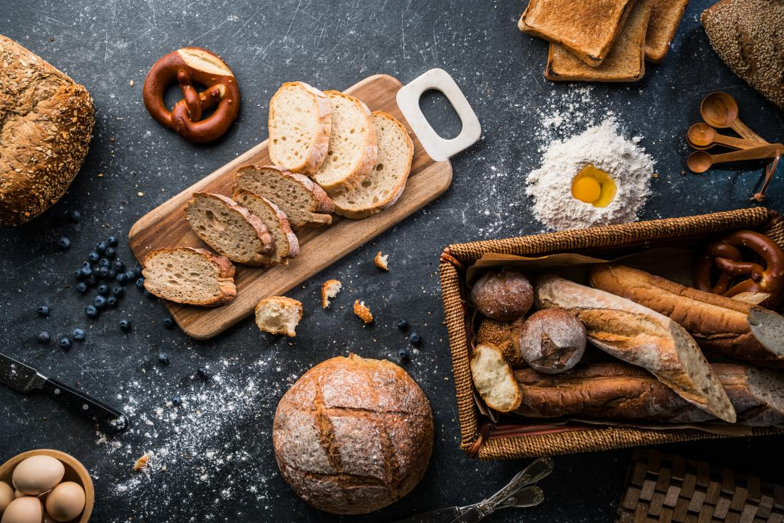 Assorted breads that contain gluten