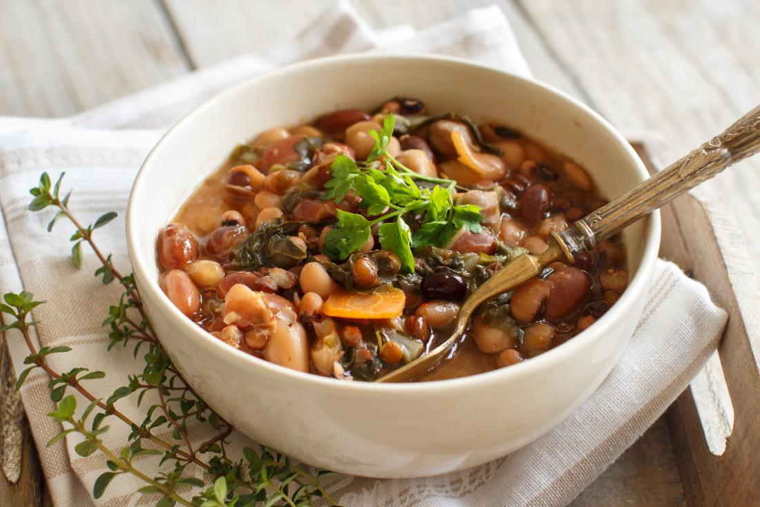Bean stew with spinach as an iron rich meal for vegans