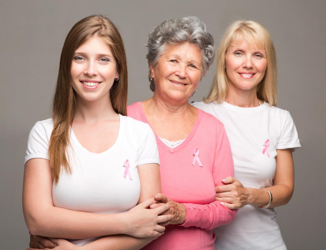 female family members wearing breast cancer awareness ribbons