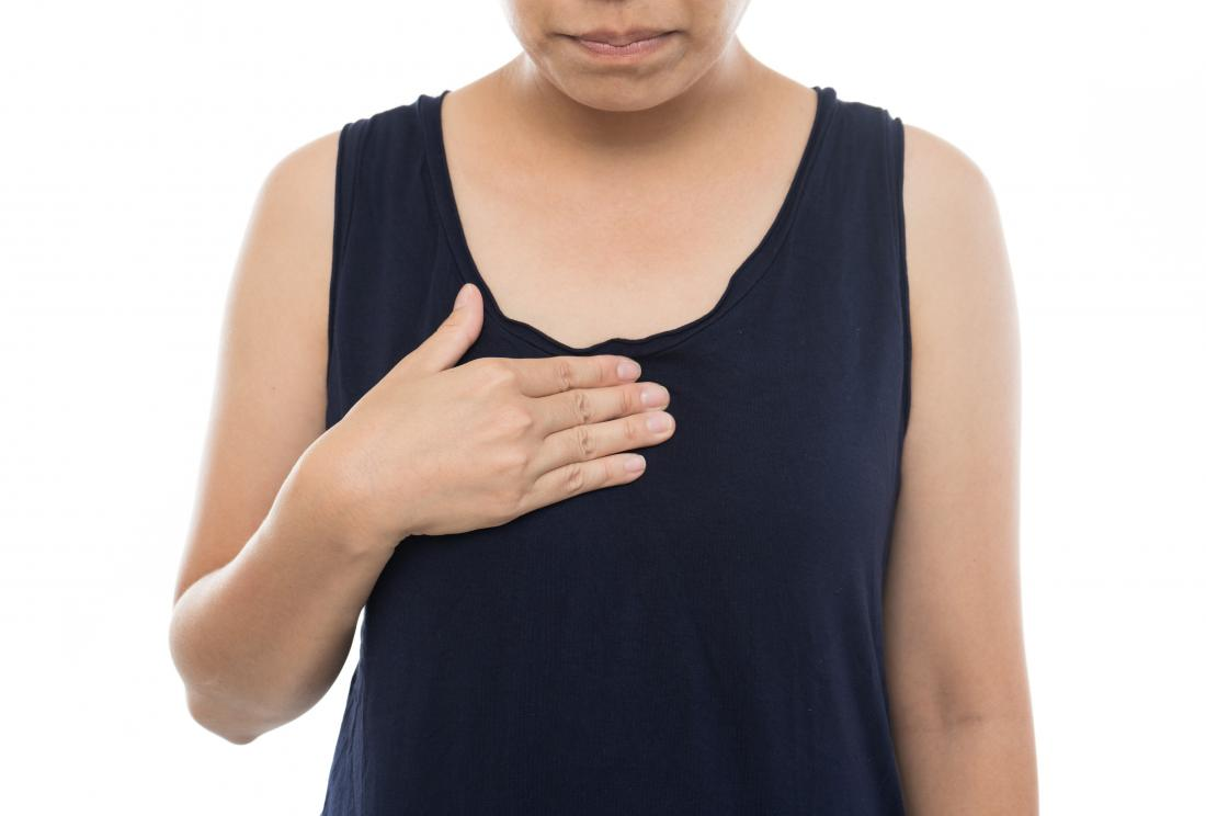 Woman holding her chest due to acid reflux