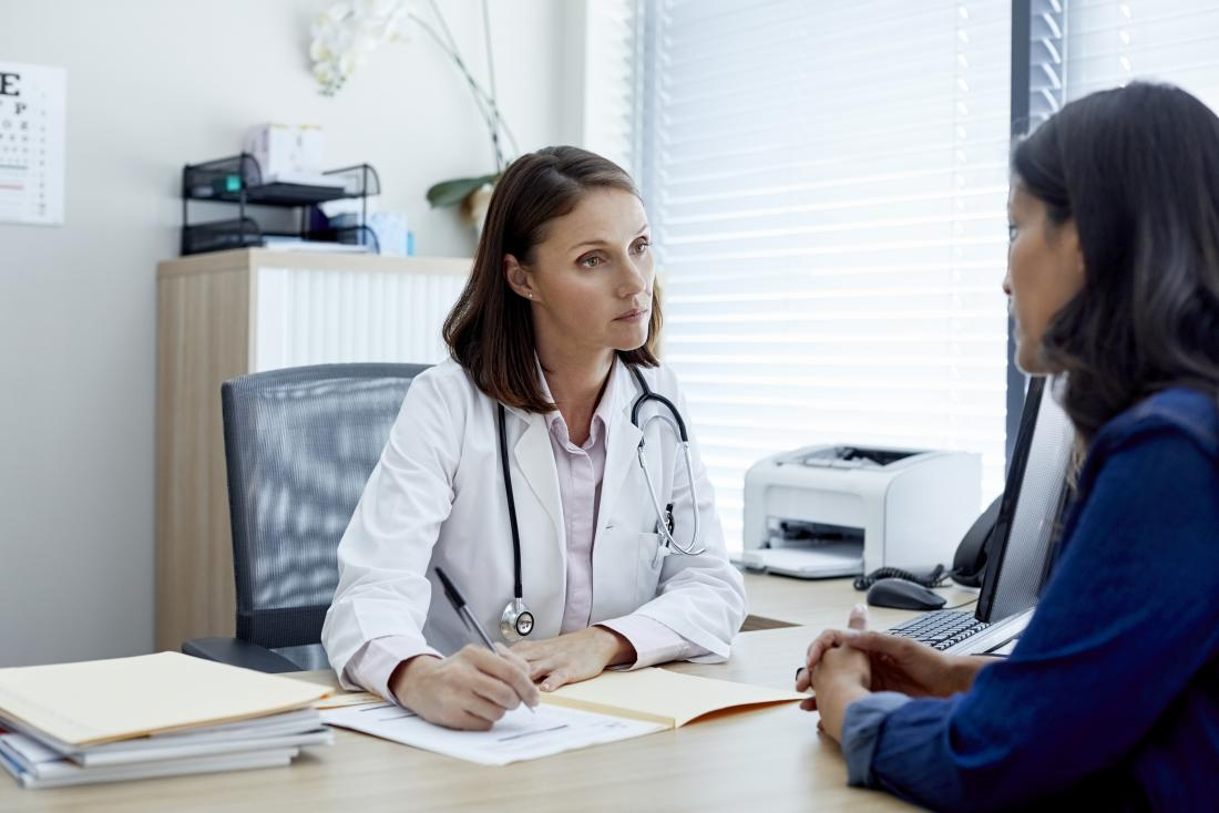 female doctor and patient discussing treatment and taking medical history
