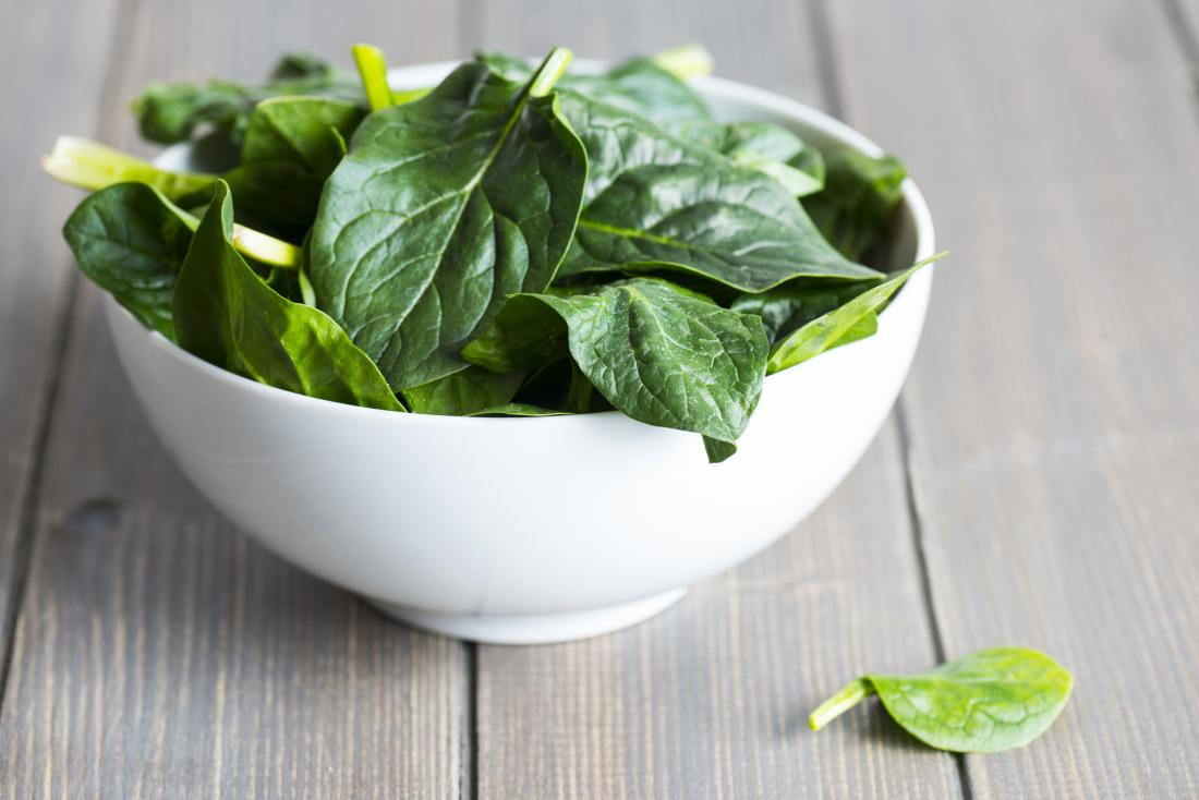 leafs of spinach in a white bowl.