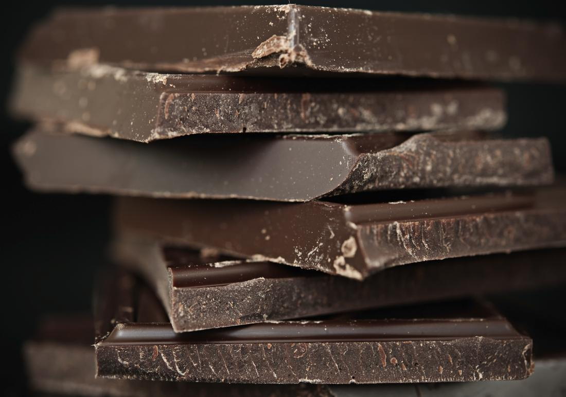 Stack of dark chocolate
