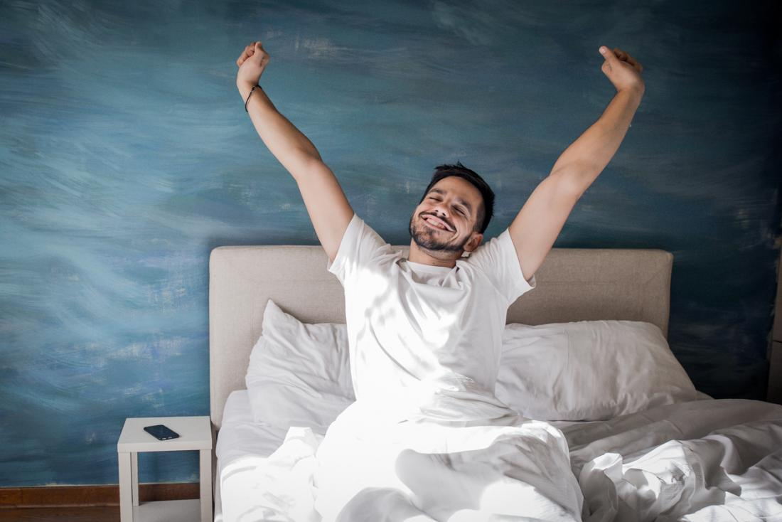 happy person waking up