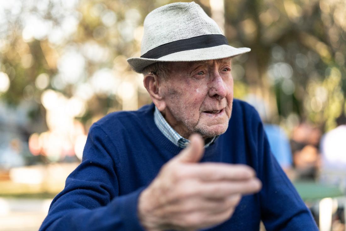 Older adult talking