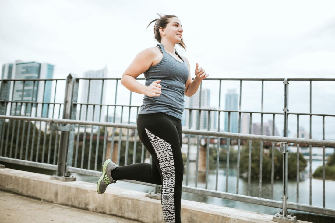 woman running to try and help herself sleep better