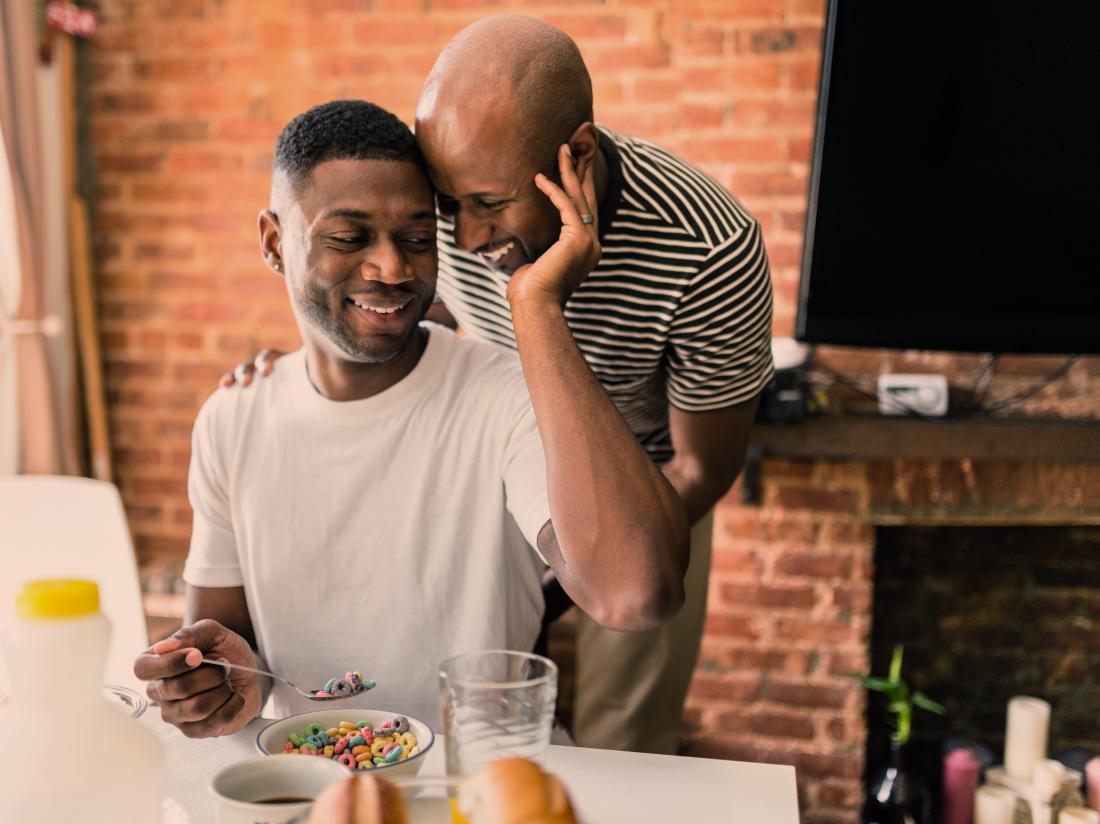 two gay men eating fruit loops