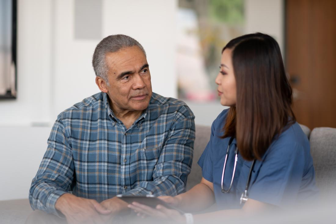 a doctor discusses alternatives to a prostate biopsy with a patient