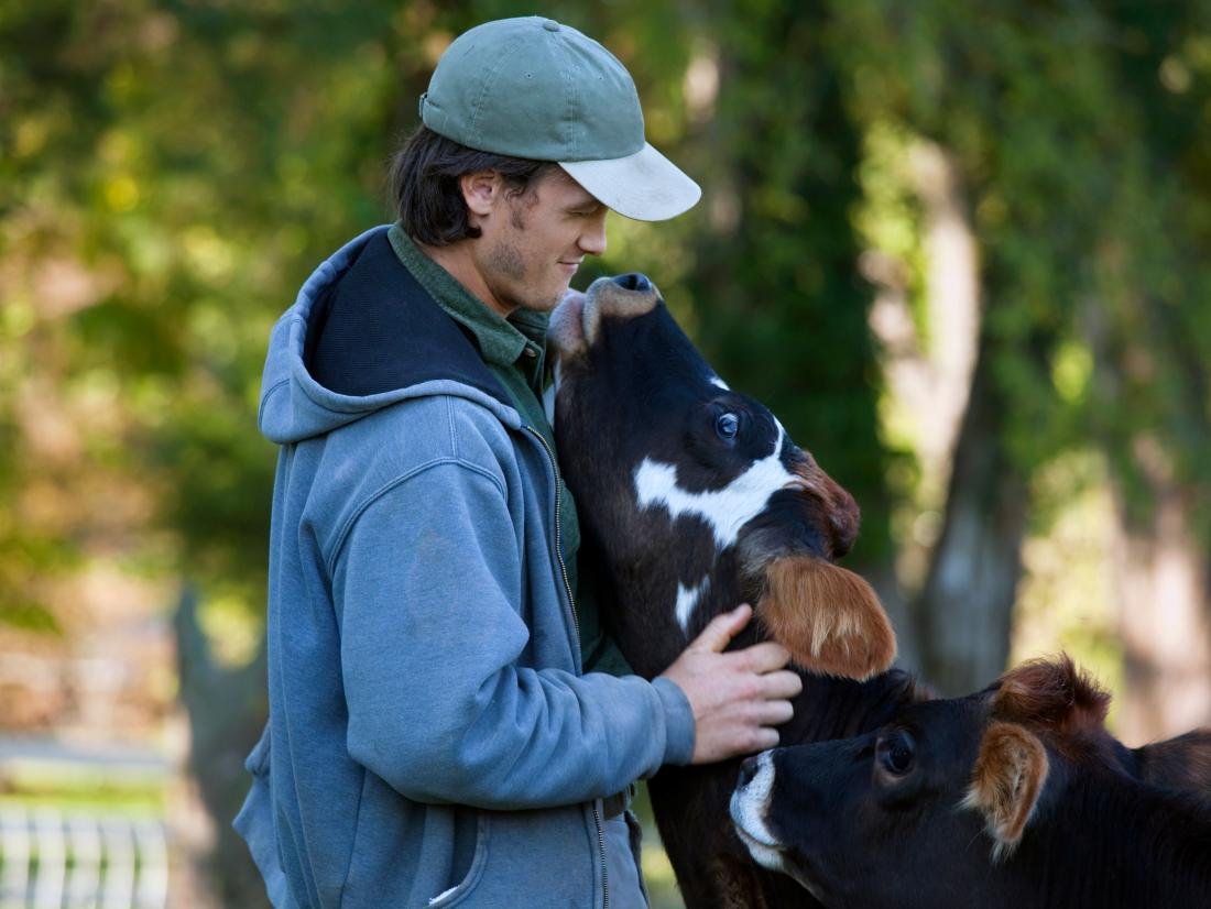 a man hugging a cow.