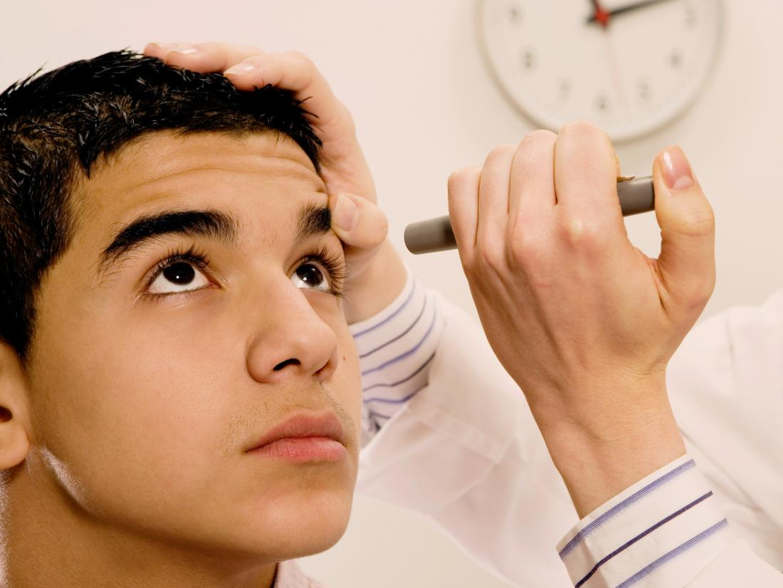 a young man having a dilated eye exam
