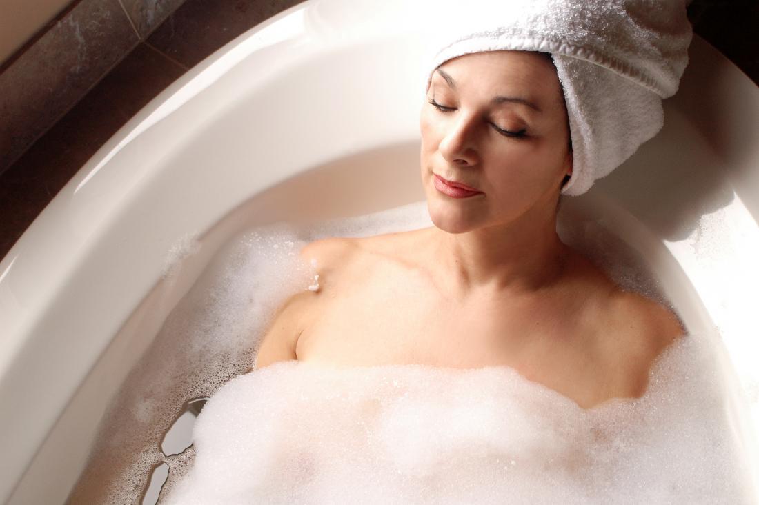 a woman having a nice bath